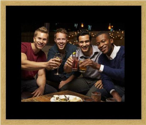 Photo of group of lads - gold frame black mount
