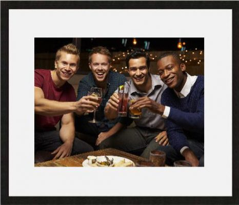 Photo of group of lads - black frame white mount